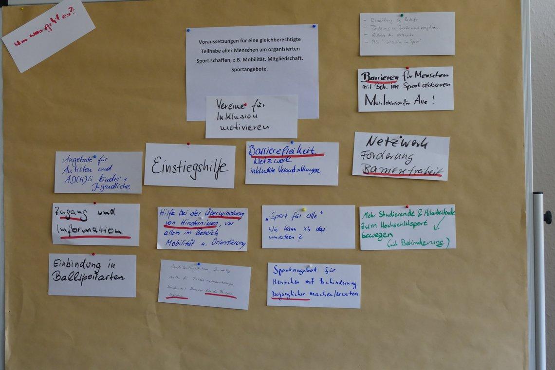 Stellwand mit Schlagworten zu den Bedarfen der Teilnehmenden