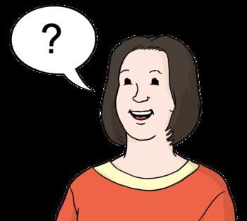 Piktogramm einer Frau mit einer Sprechblase, in der ein Fragezeichen abgebildet ist