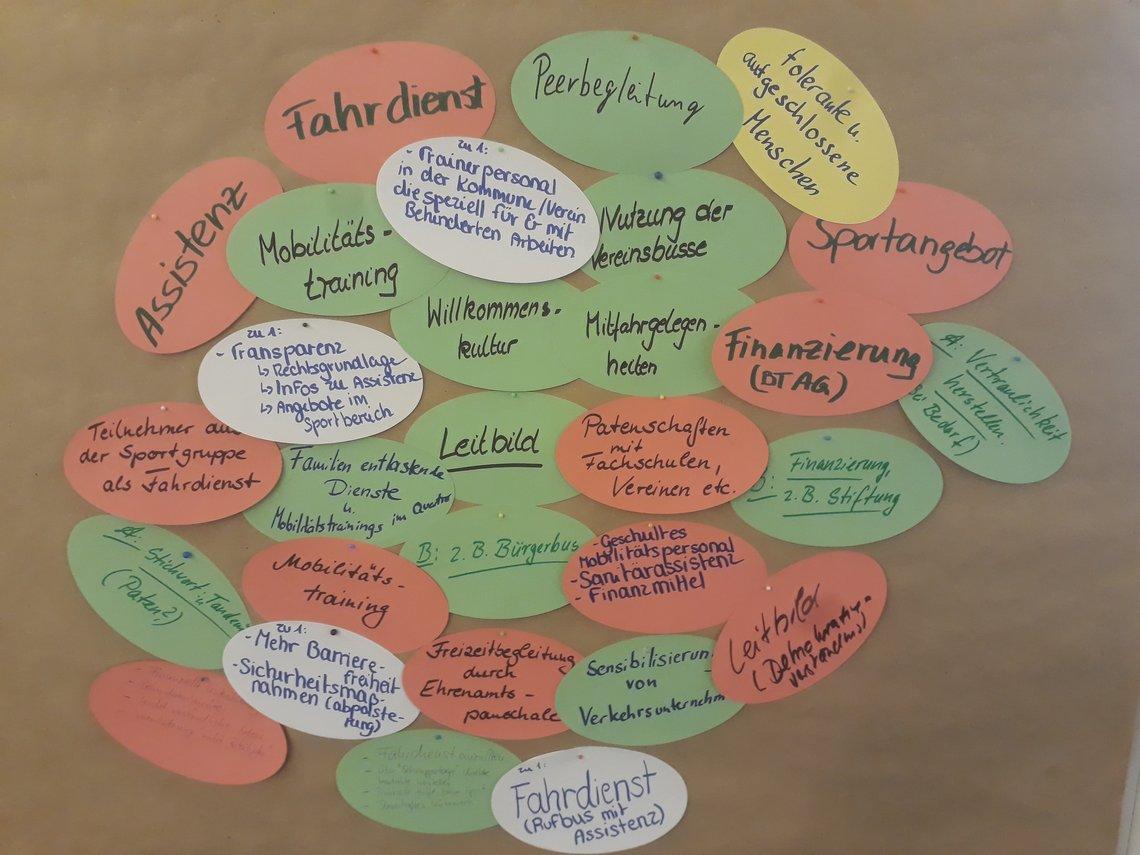 Bunte Sticker mit Schlagworten für die Themen Assistenz und Mobilität